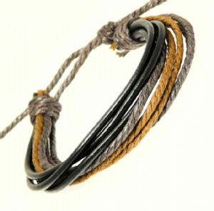 Multi Black Leather Strap & Coloured Cords Leather Bracelet 85